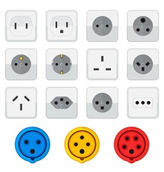 flat style colored home industrial power socket vector image
