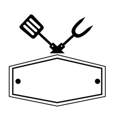 fork and spatula utensils board vector image