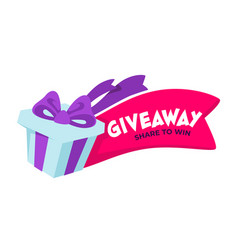 Giveaway share to win advertisement in social vector