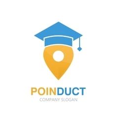 Graduation cap and map pointer logo concept vector