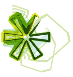 Green letter symbol vector
