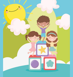 happy childrens day cute girls and boy playing vector image