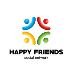 happy friends poster vector image