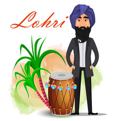 Happy lohri greeting card vector