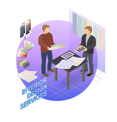 Home repair isometric template designer and vector
