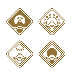 japanese icons set nature vector image