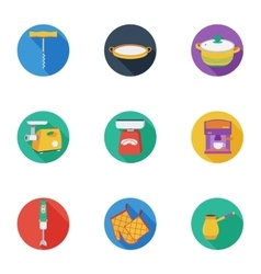 Kitchen set icons in cartoon style big collection vector