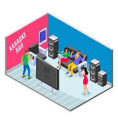 ktv bar isometric composition vector image