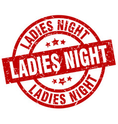 Ladies night round red grunge stamp vector