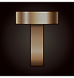 Letter metal gold ribbon - T vector image