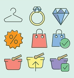 linear flat color icons for UIUX use vector image
