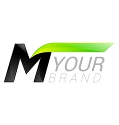 M letter black and green logo design Fast speed vector image