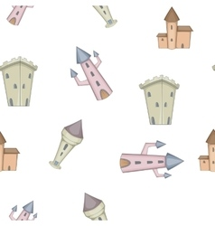Medieval castles pattern cartoon style vector