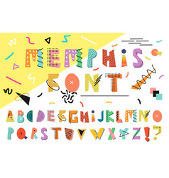 memphis alphabet colorful funny font fashion 80s vector image
