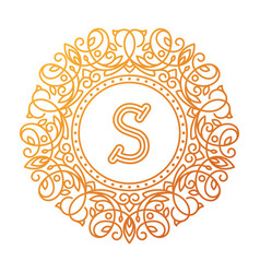 Monogram s bage logo text vector
