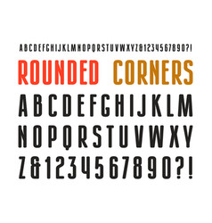Narrow sanserif font with rounded corners vector