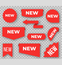 new labels red signs for marking products last vector image