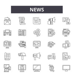 news line icons signs set linear concept vector image