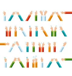 Outline hand finger gesture icon set vector