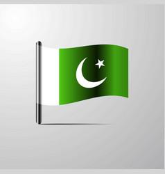 Pakistan waving shiny flag design vector