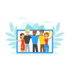 people various nationalities standing together vector image