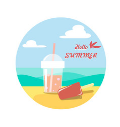 Plastic glass with soda and ice cream on the sand vector