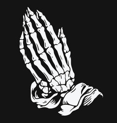 praying skeleton hands vector image