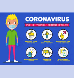 protect yourself against coronavirus covid-19 vector image