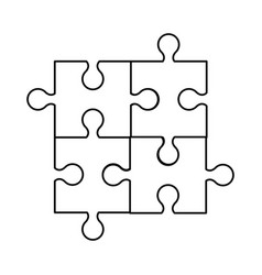 Puzzle jigsaw innovation idea outline vector