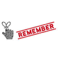 Remember knot mosaic and distress remember seal vector