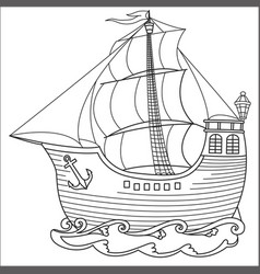 retro sailboat contour drawing vector image