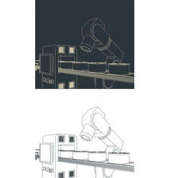 Robotic factory line drawings vector
