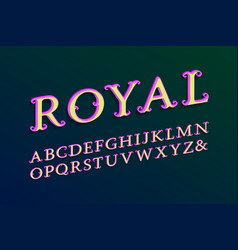Royal layered alphabet colored 3d font isolated vector