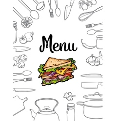 Sandwich kitchenware and cutlery menu design vector image