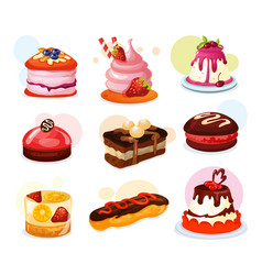 Set isolated cake piece or biscuit jelly vector