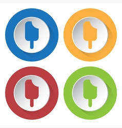 set of four icons - stick ice cream vector image