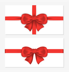 set of horizontal gift cards with luxury red bows vector image
