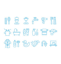set of linear icons related to bathroom and vector image