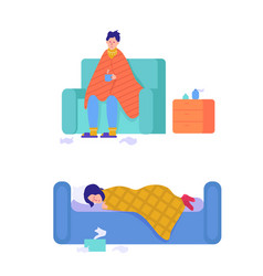 set sick people characters man and woman vector image