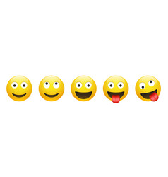 Set smiling dreaming insane crazy emoticon vector