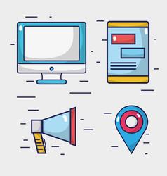 set social media network connection vector image