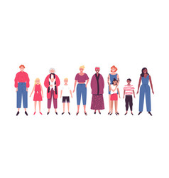 Set women and family on isolated background vector