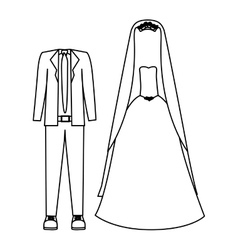 Silhouette with costume wedding design vector