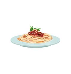 Spaghetti pasta with sauce italian cuisine vector