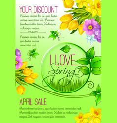 spring poster of flowers for shopping sale vector image