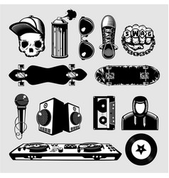 Street culture icons set hip-hop and rap signs vector