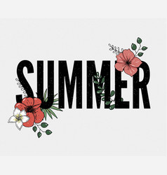 Summer holiday slogan with pineapple and tropical vector