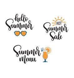 summer seasonal phrases hand lettering vector image