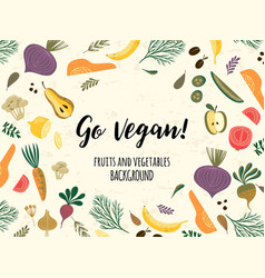 Teplate with vegetables and fruit vegan vector