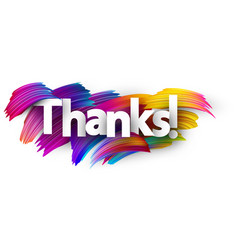thanks paper poster with colorful brush strokes vector image